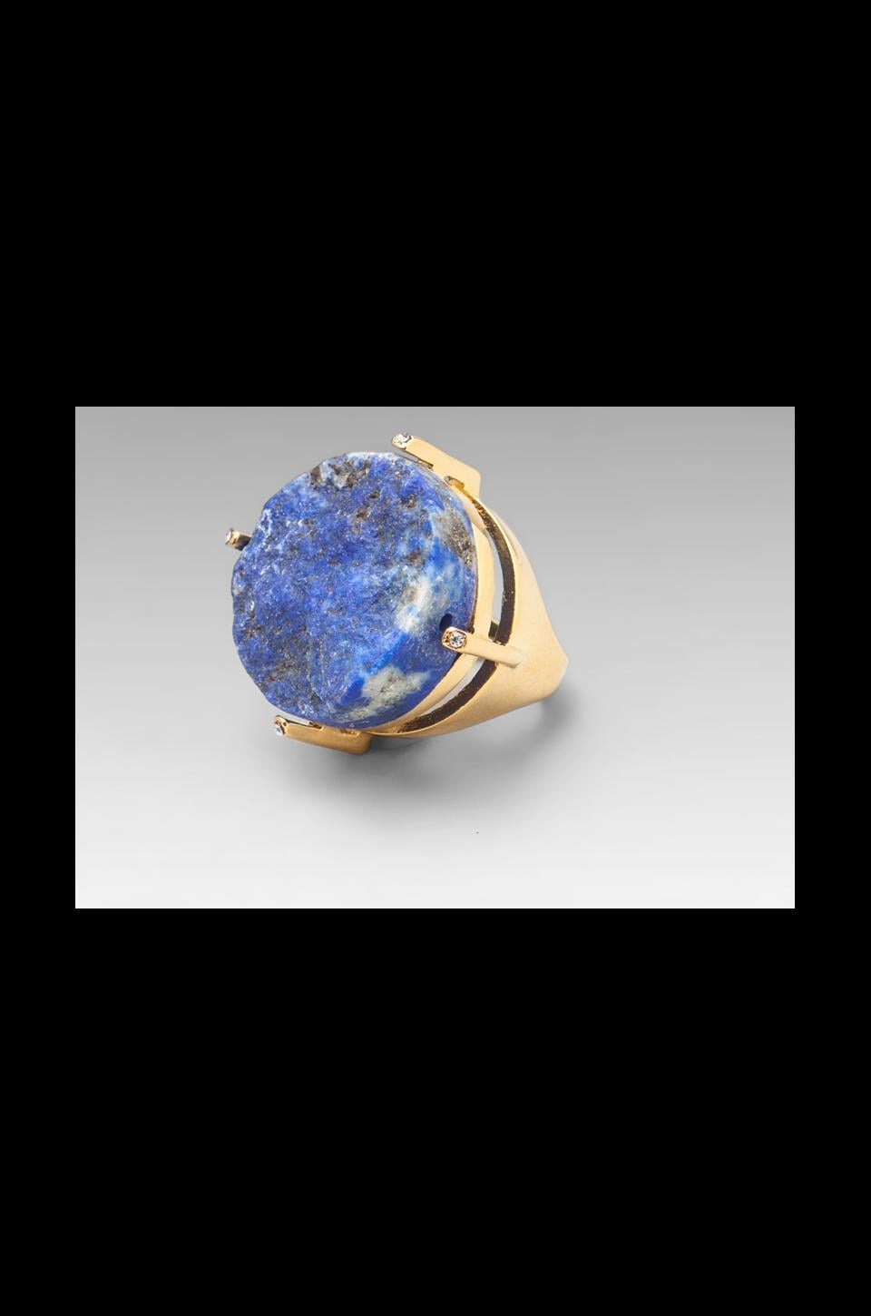 Roman Luxe Round Blue Lapis Ring in Gold