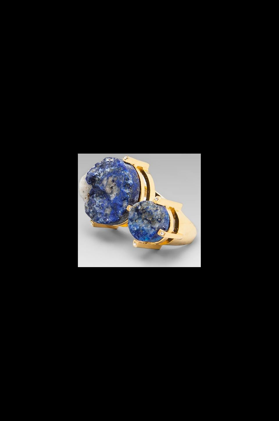 Roman Luxe Double Stone Blue Lapis Ring in Gold