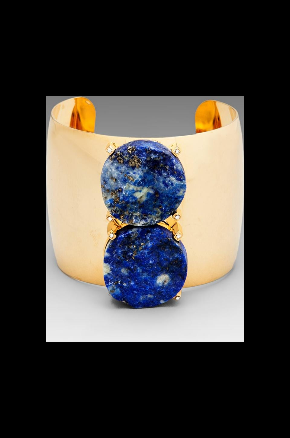 Roman Luxe Blue Lapis 2 Stone Cuff in Gold