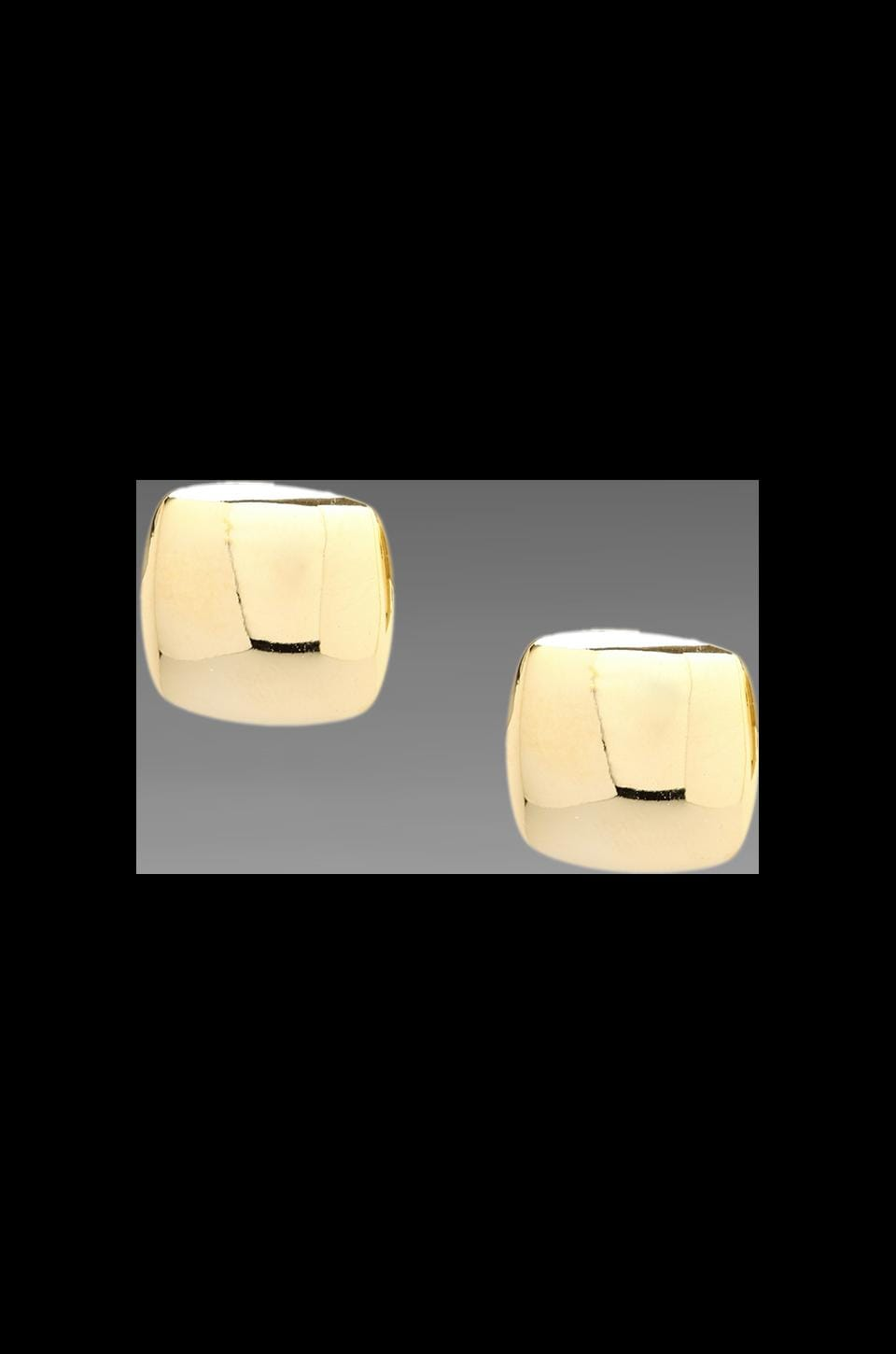 Roman Luxe Puffed Square Earring in Gold