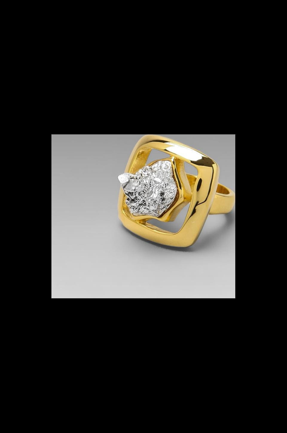 Roman Luxe Dome Square Nugget Ring in Gold