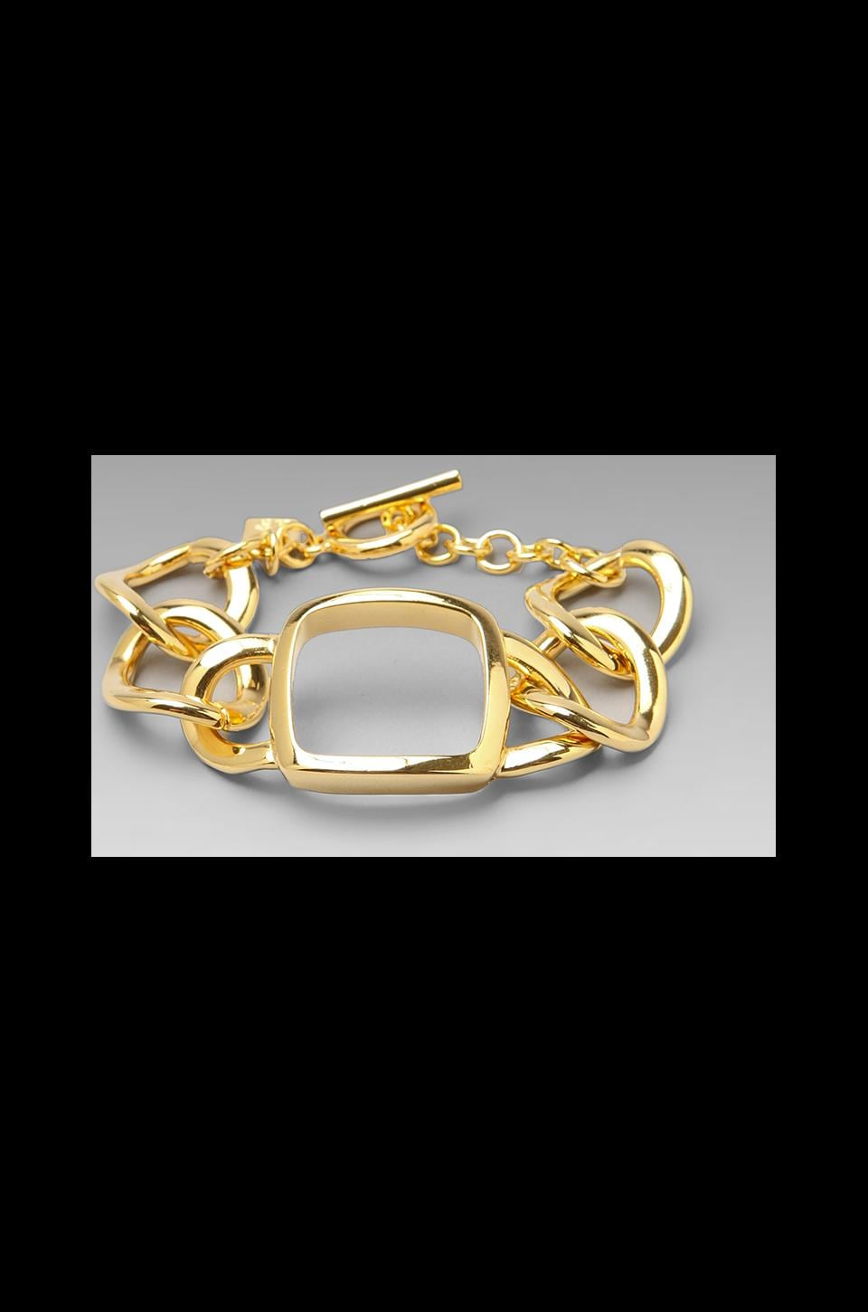 Roman Luxe Square Links Bracelet in Gold