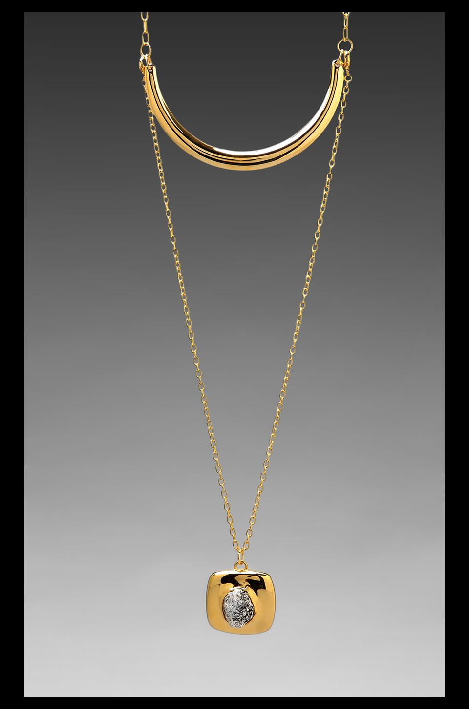 Roman Luxe Square Nugget Necklace in Gold