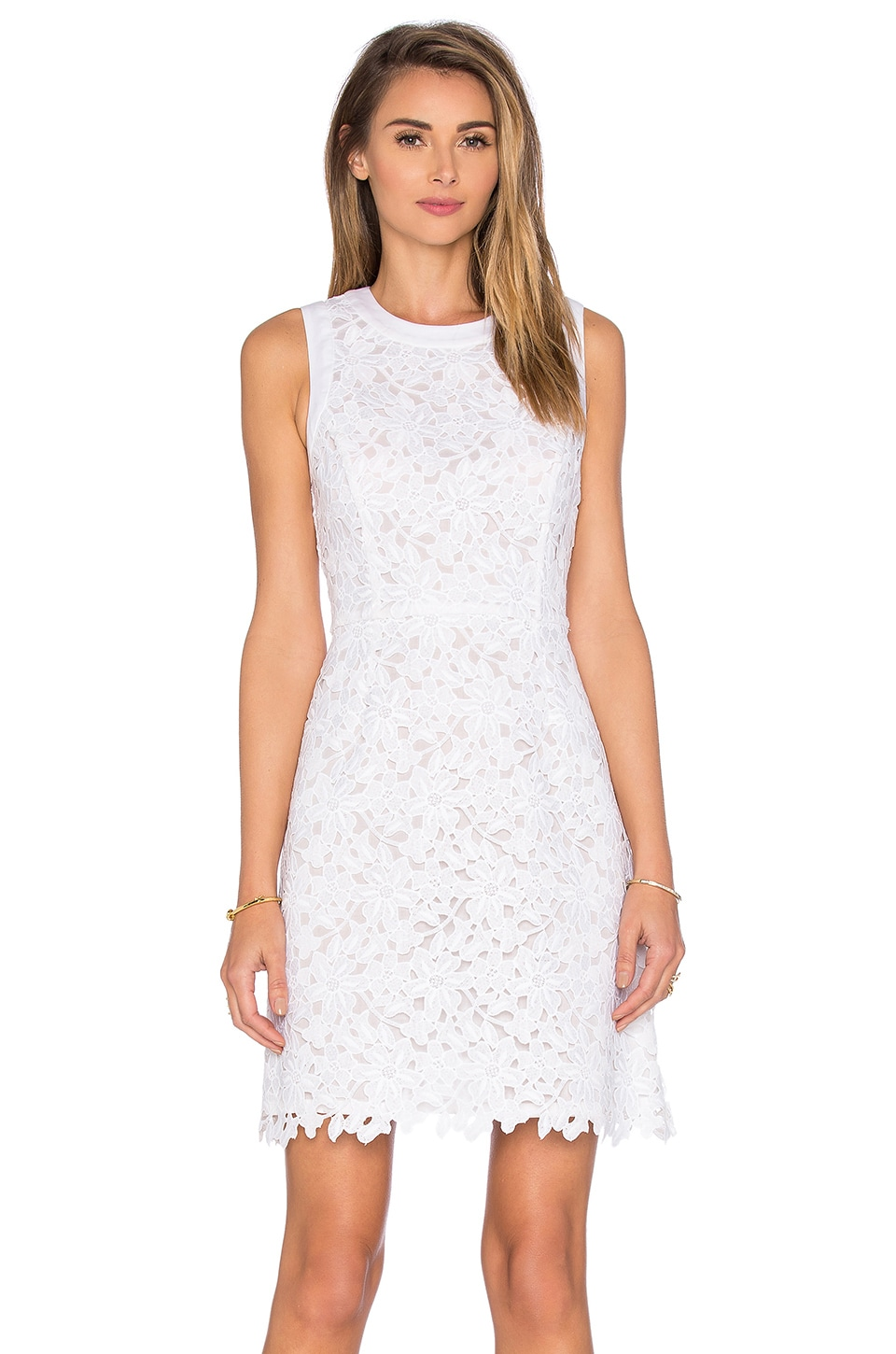 kate spade new york Floral Lace Mini Dress in Fresh White