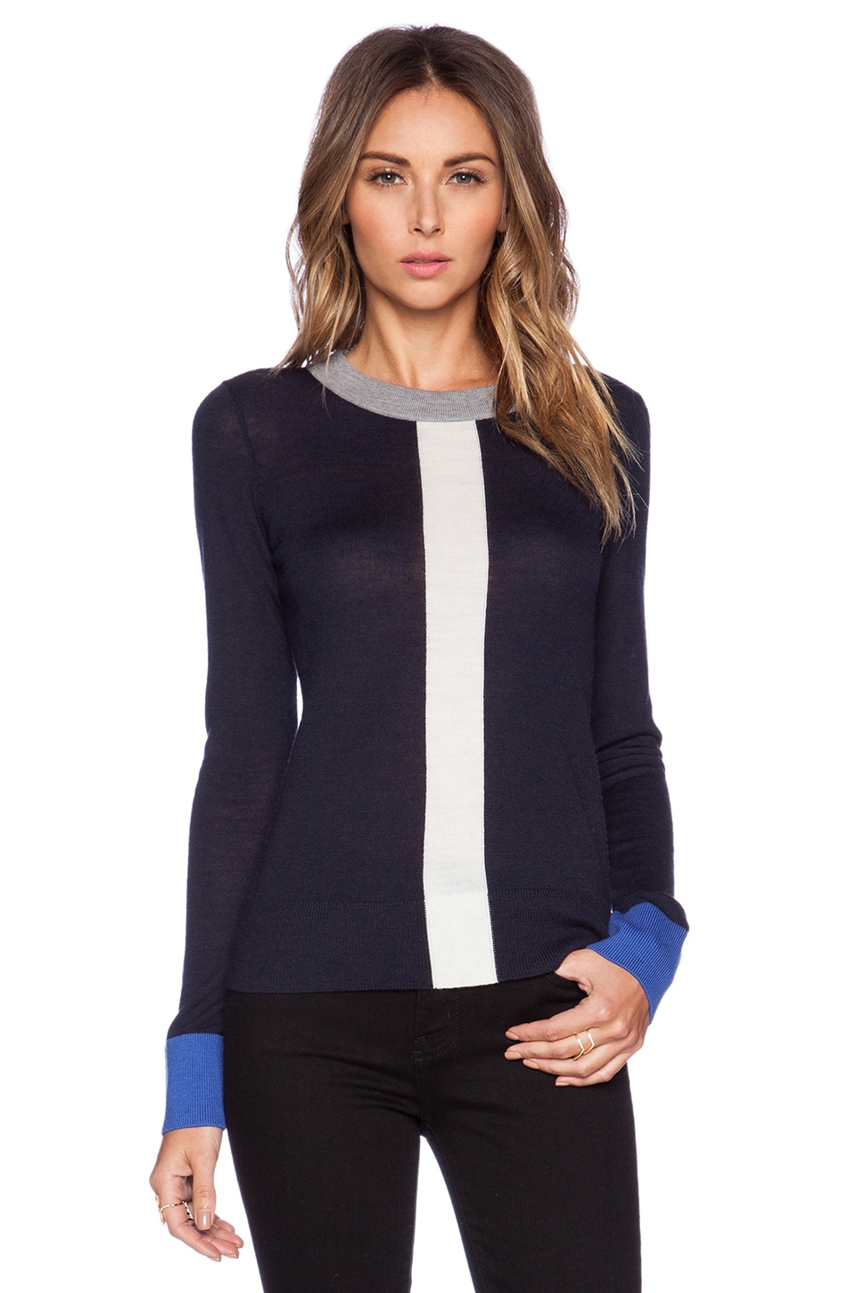 kate spade new york Graphic Wool Sweater in Rich Navy Multi