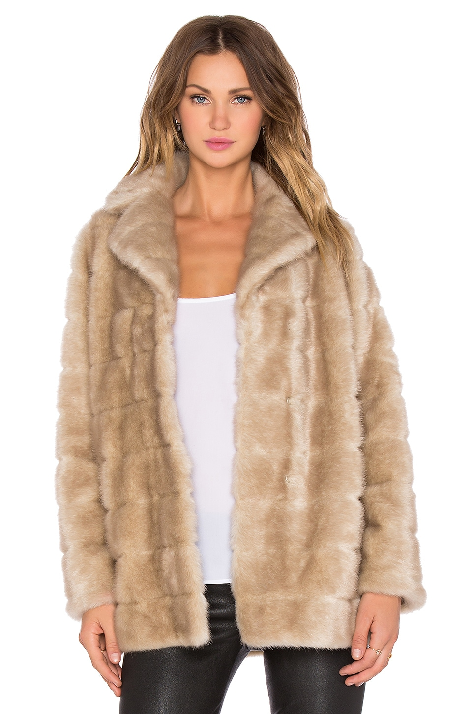 kate spade new york Blonde Mink Faux Fur Coat in Champagne | REVOLVE
