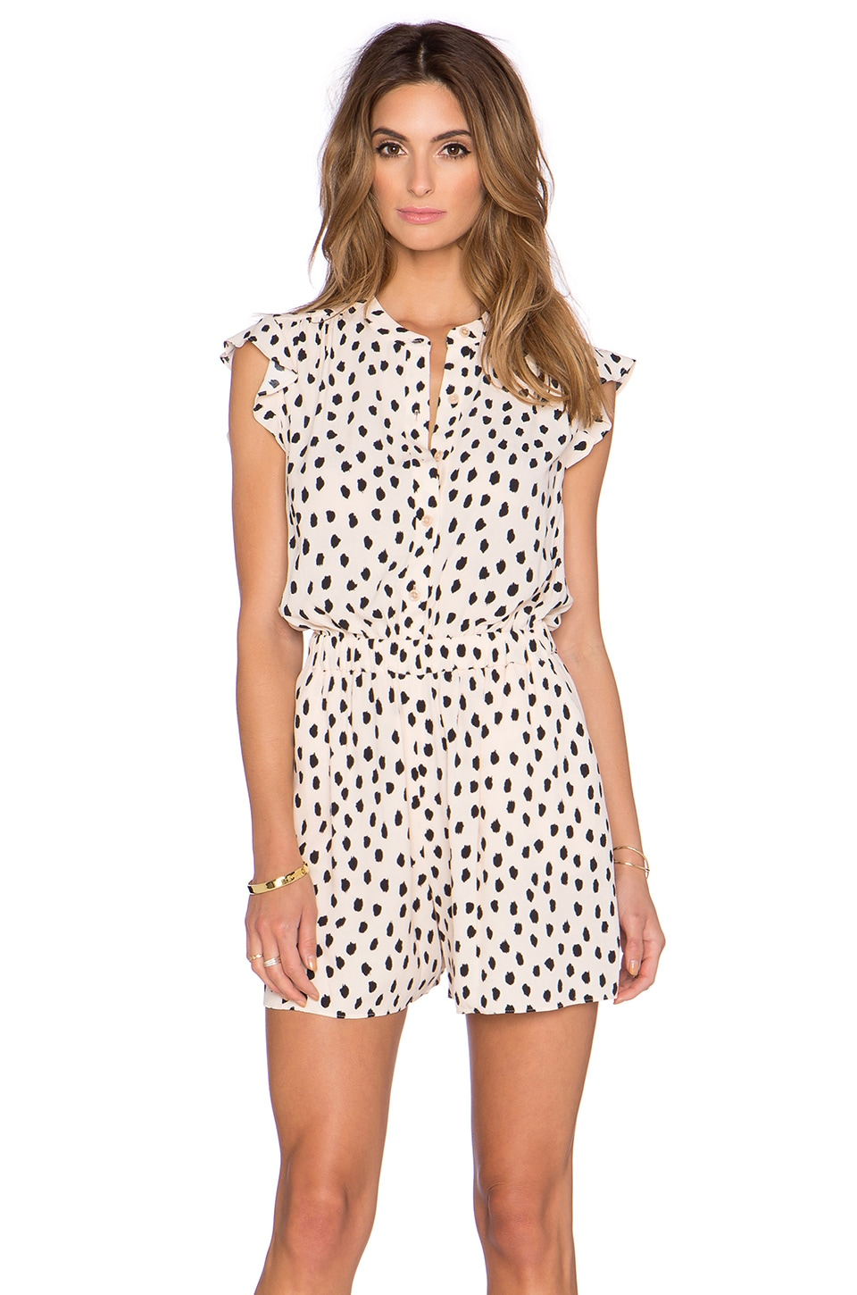 kate spade new york Leopard Dot Romper in Shell