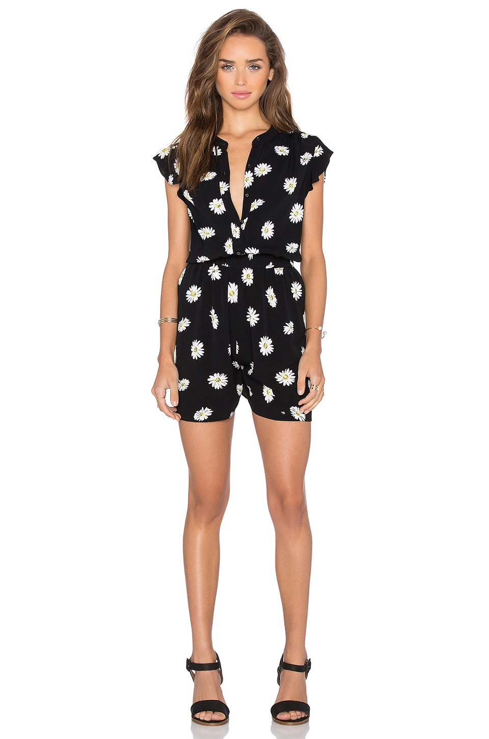 kate spade new york Daisy Dot Crepe Romper in Black