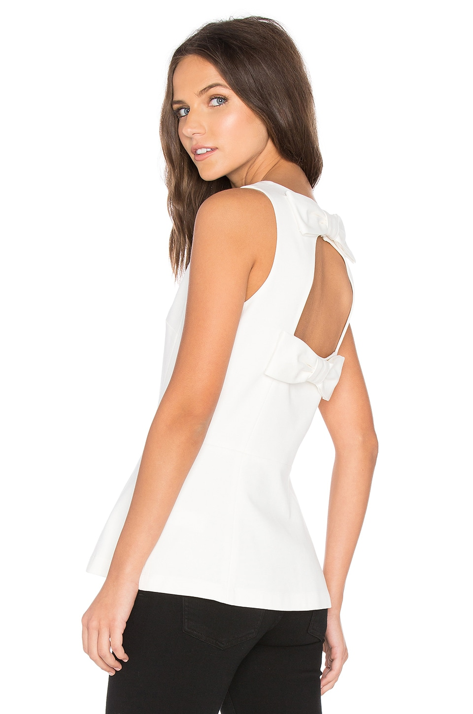 kate spade new york Double Bow Open Back Peplum Top in Cream