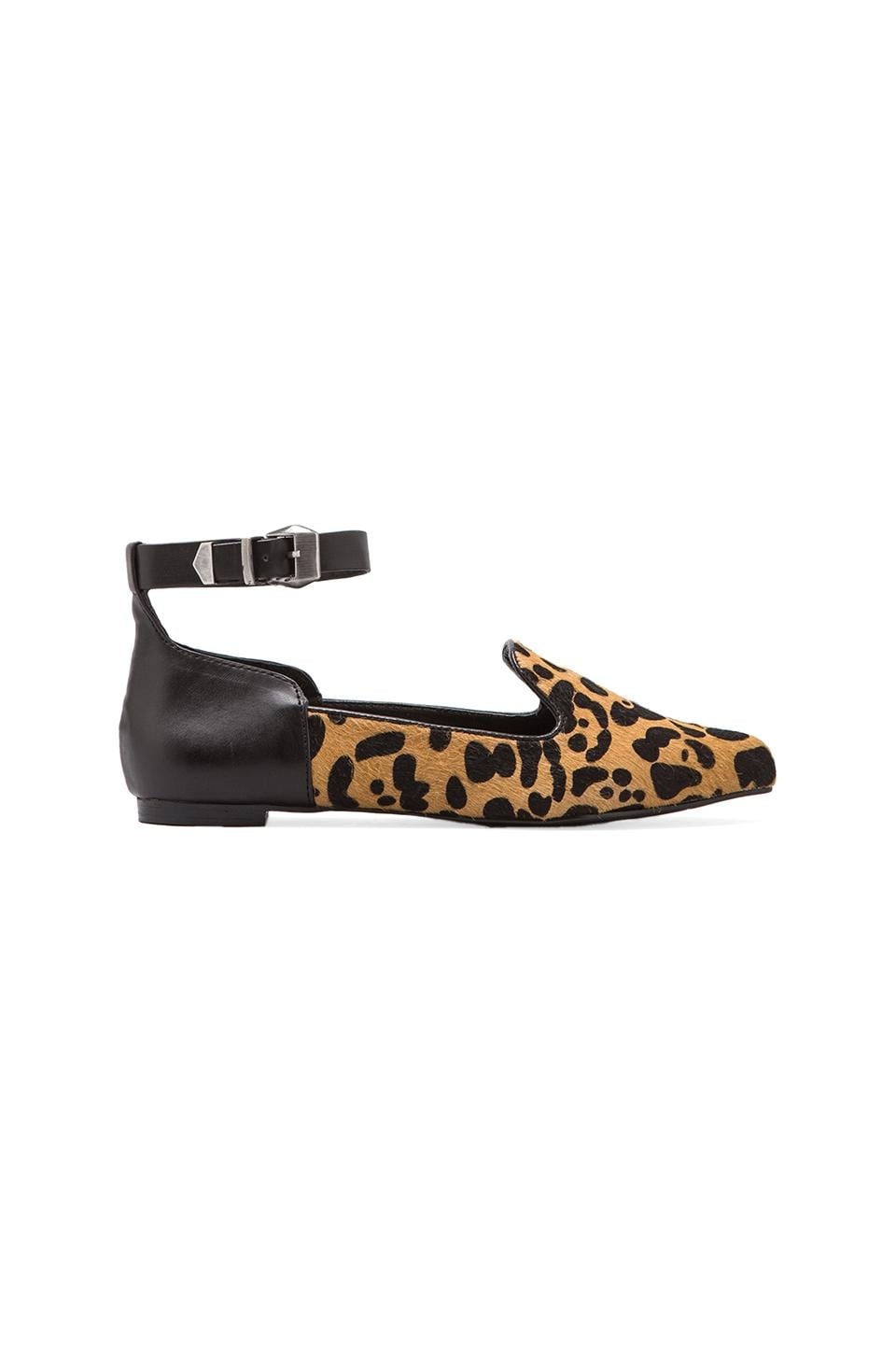 Kelsi Dagger Nitrogen Flat with Calf Hair in Leopard/Black