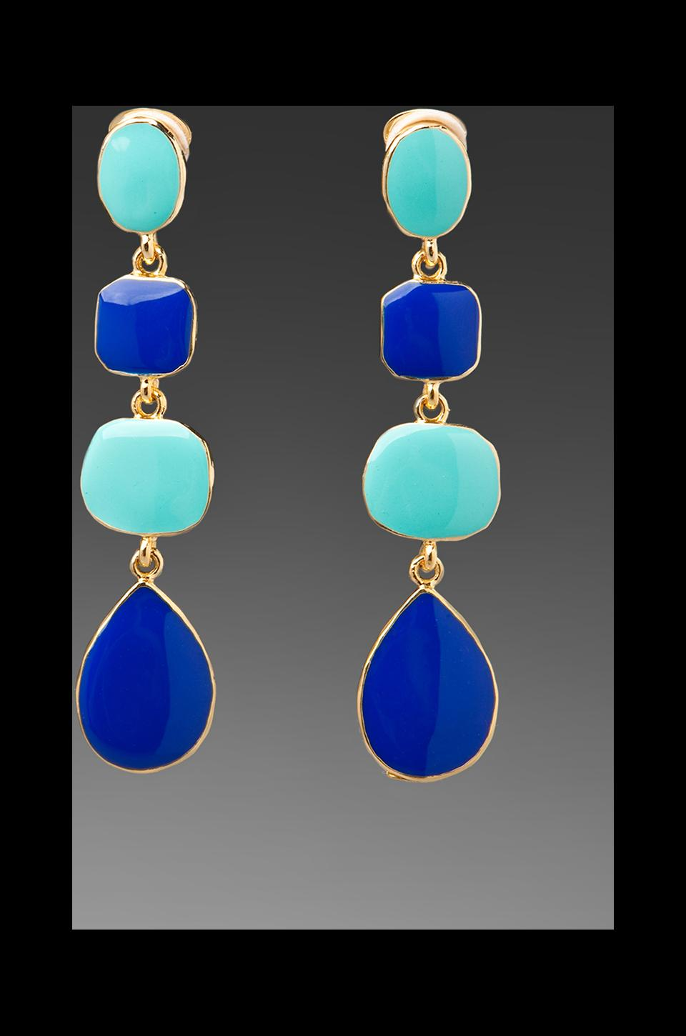 Kenneth Jay Lane Stone Drop Earrings in Turquoise/Cobalt