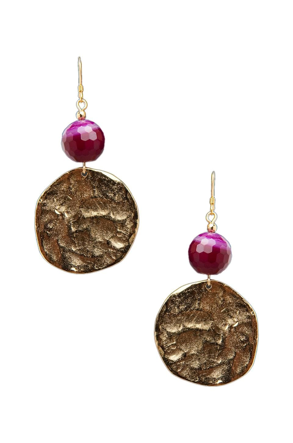 Kenneth Jay Lane Bead and Disk Earrings in Gold/Fuchsia