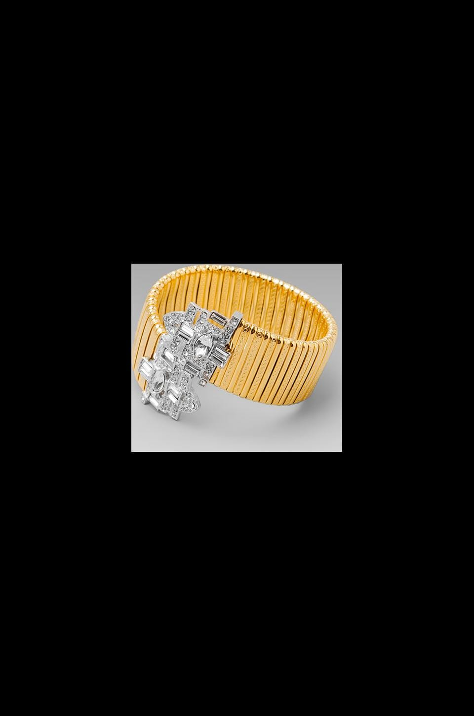 Kenneth Jay Lane Art Deco Coil Bracelet in Gold
