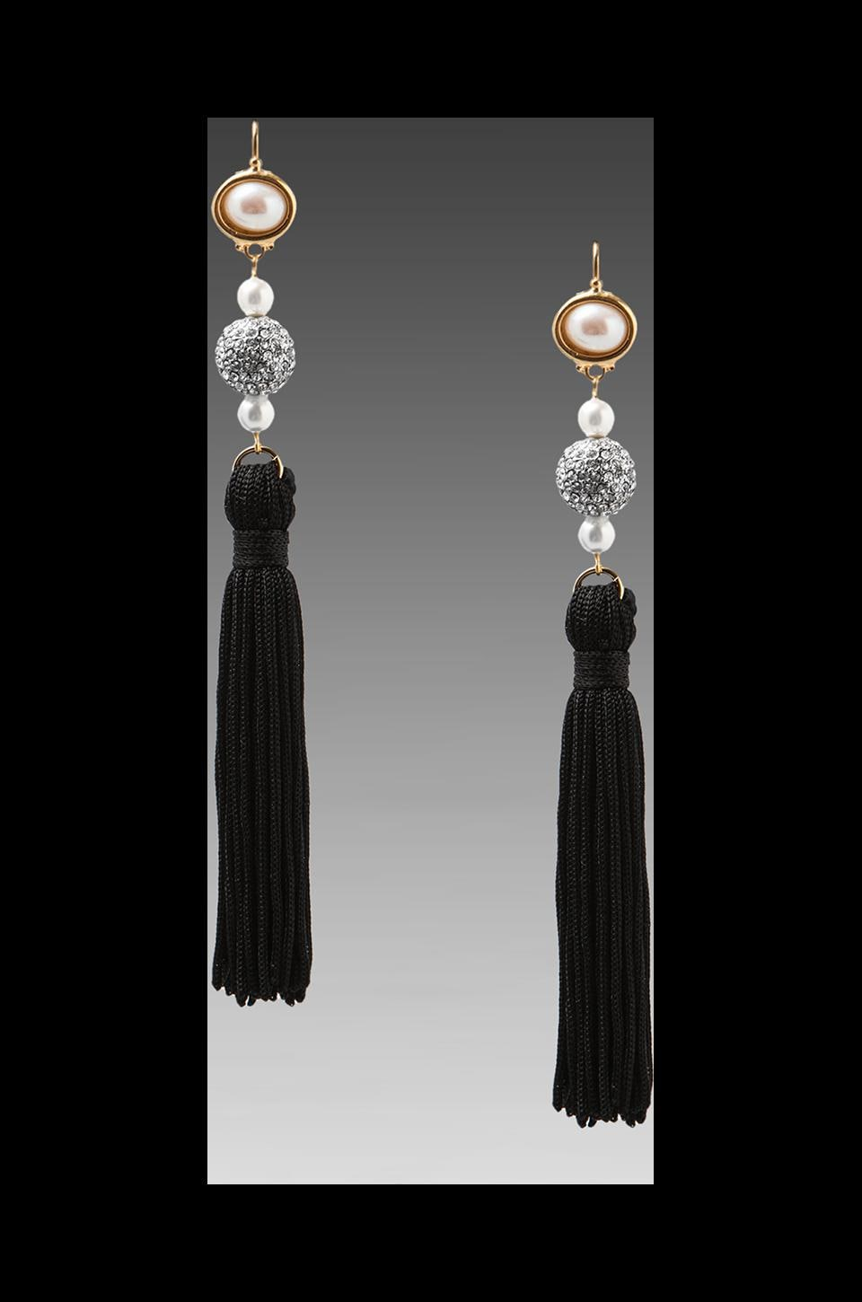 Kenneth Jay Lane Tassel and Pearls Earring in Black/Gold