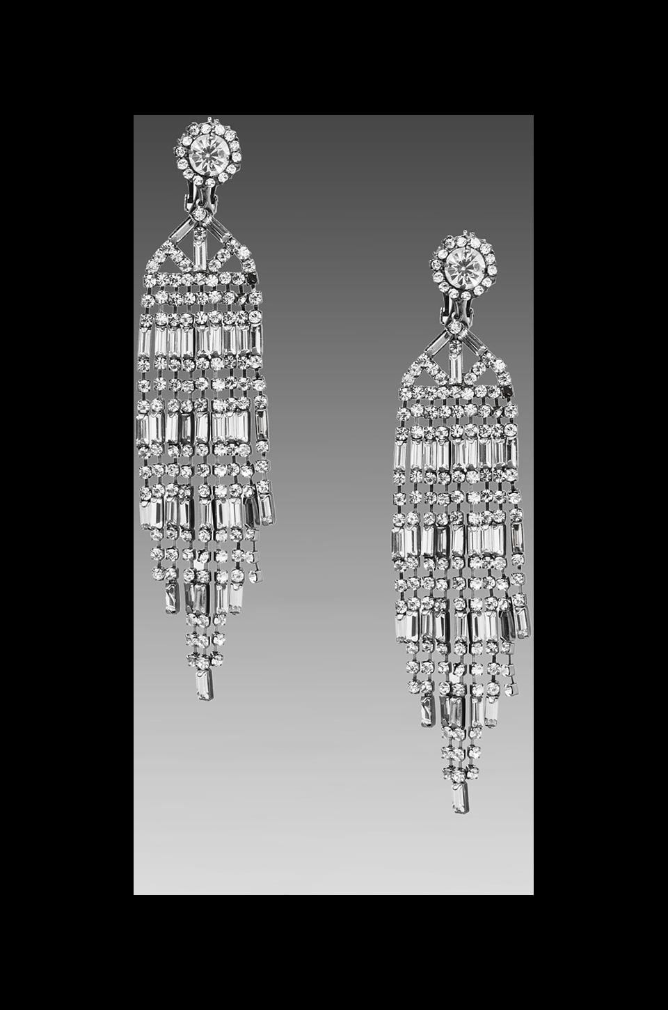 Kenneth Jay Lane Art Deco Vintage Inspired Earrings in Gunmetal