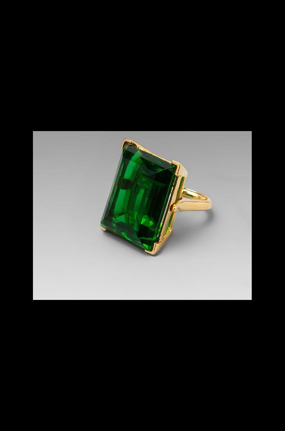 Kenneth Jay Lane Princess Cut Ring in Emerald