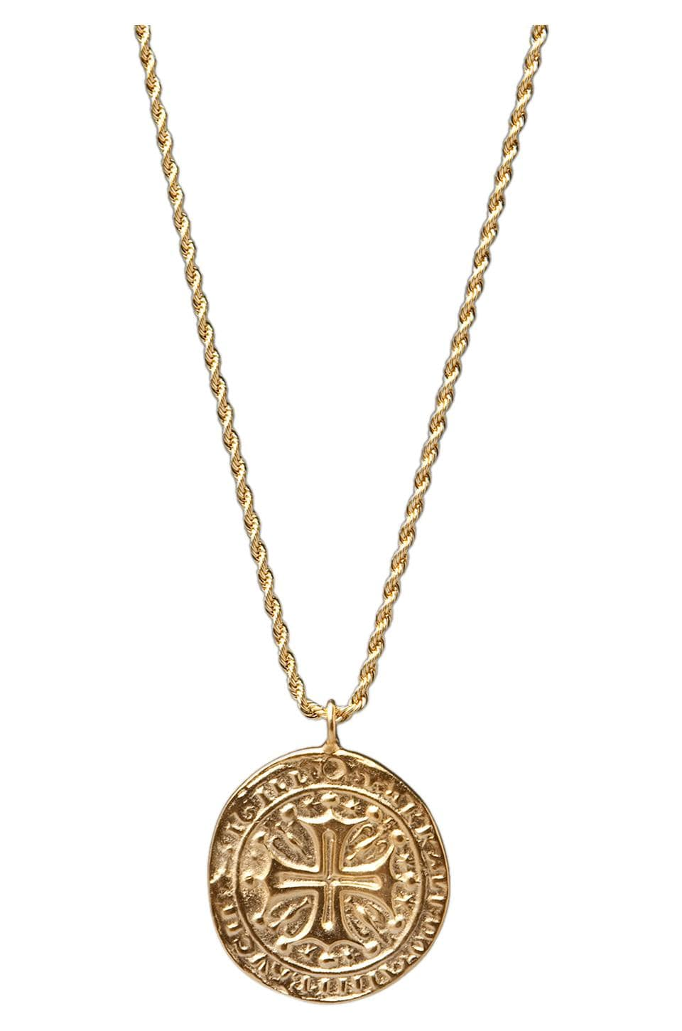 Kenneth Jay Lane Gold Cross Medallion Necklace
