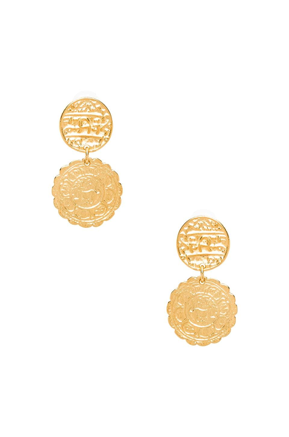 Kenneth Jay Lane Medallion Drop Earrings in Gold