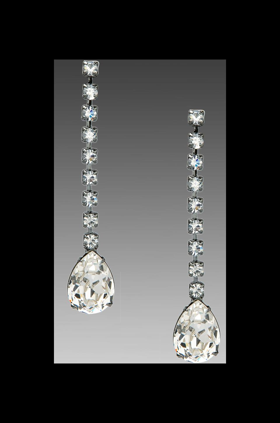 Kenneth Jay Lane Rhinestone Drop Earrings in Gunmetal