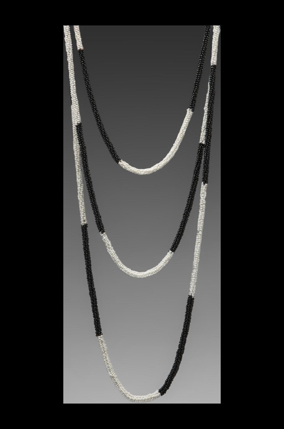 Kenneth Jay Lane Seed Bead Rope Necklace in White/Black