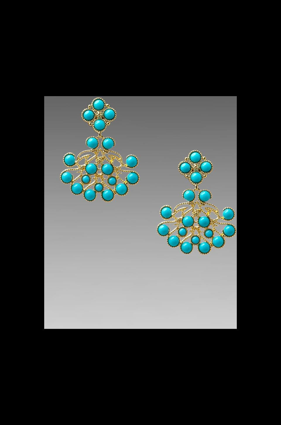 Kenneth Jay Lane Cab Earring in Gold/Turquoise