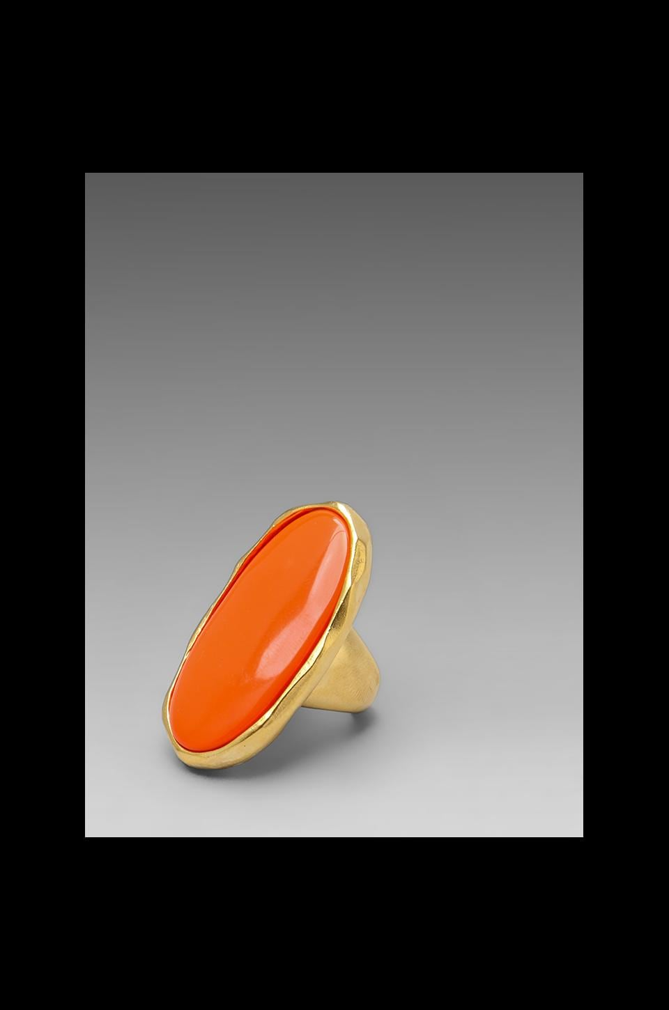 Kenneth Jay Lane Oval Ring in Sating Gold/Coral