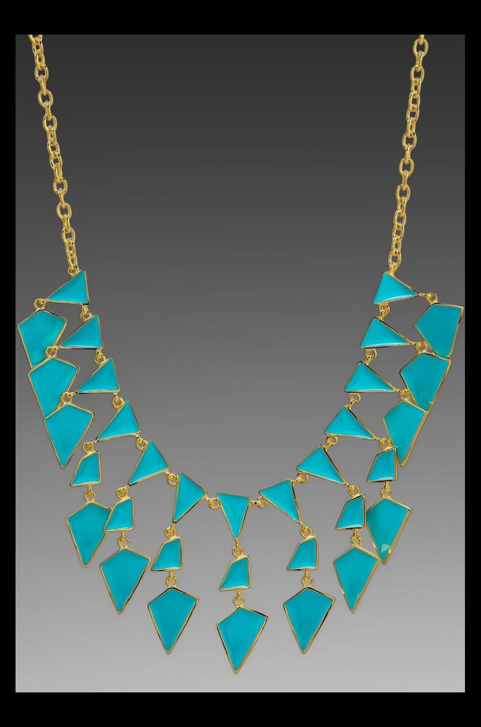 Kenneth Jay Lane Enamel Geo Drops Necklace in Turquoise