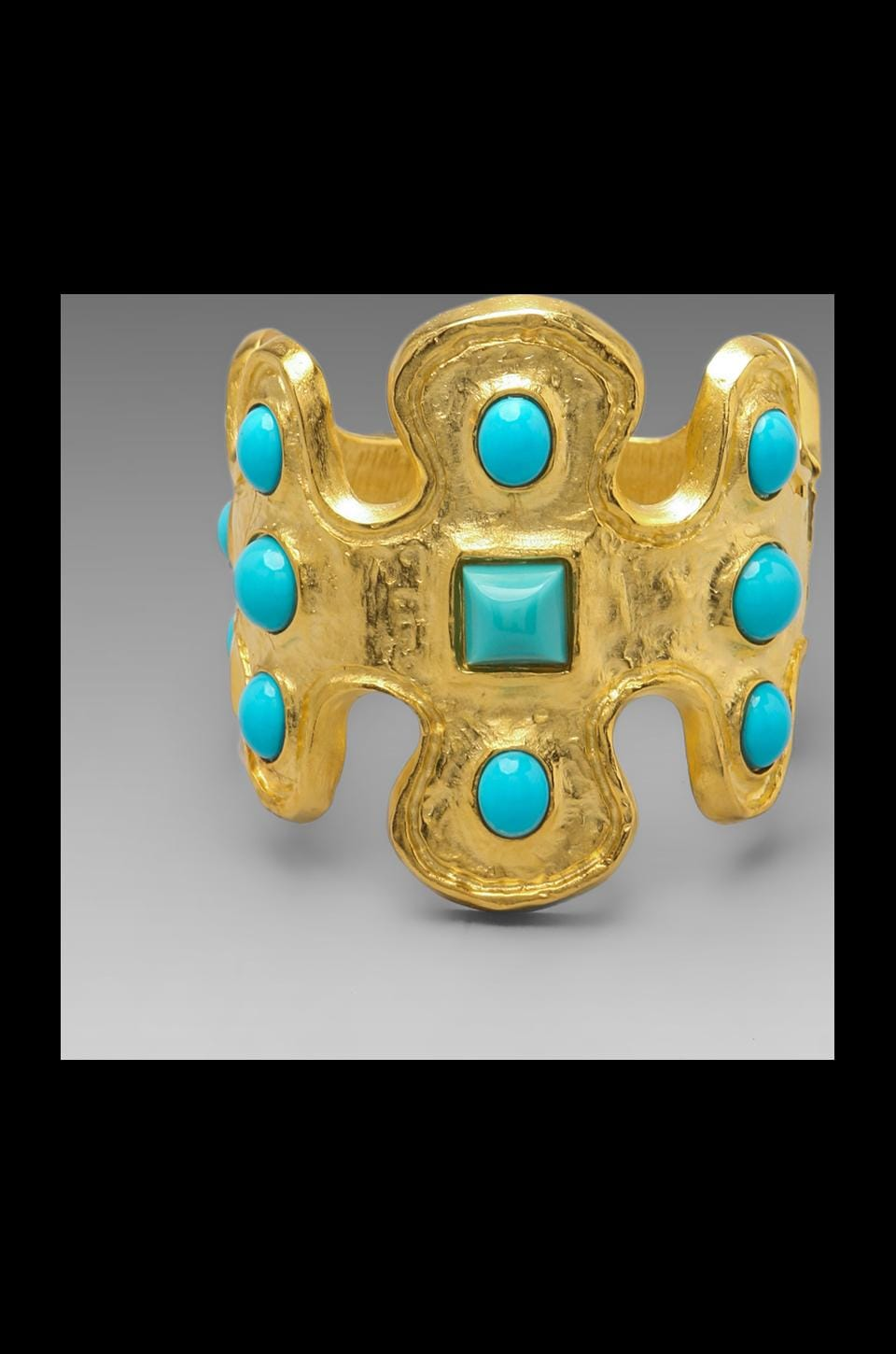 Kenneth Jay Lane Odd Shape Cuff in Satin Gold/Turquoise