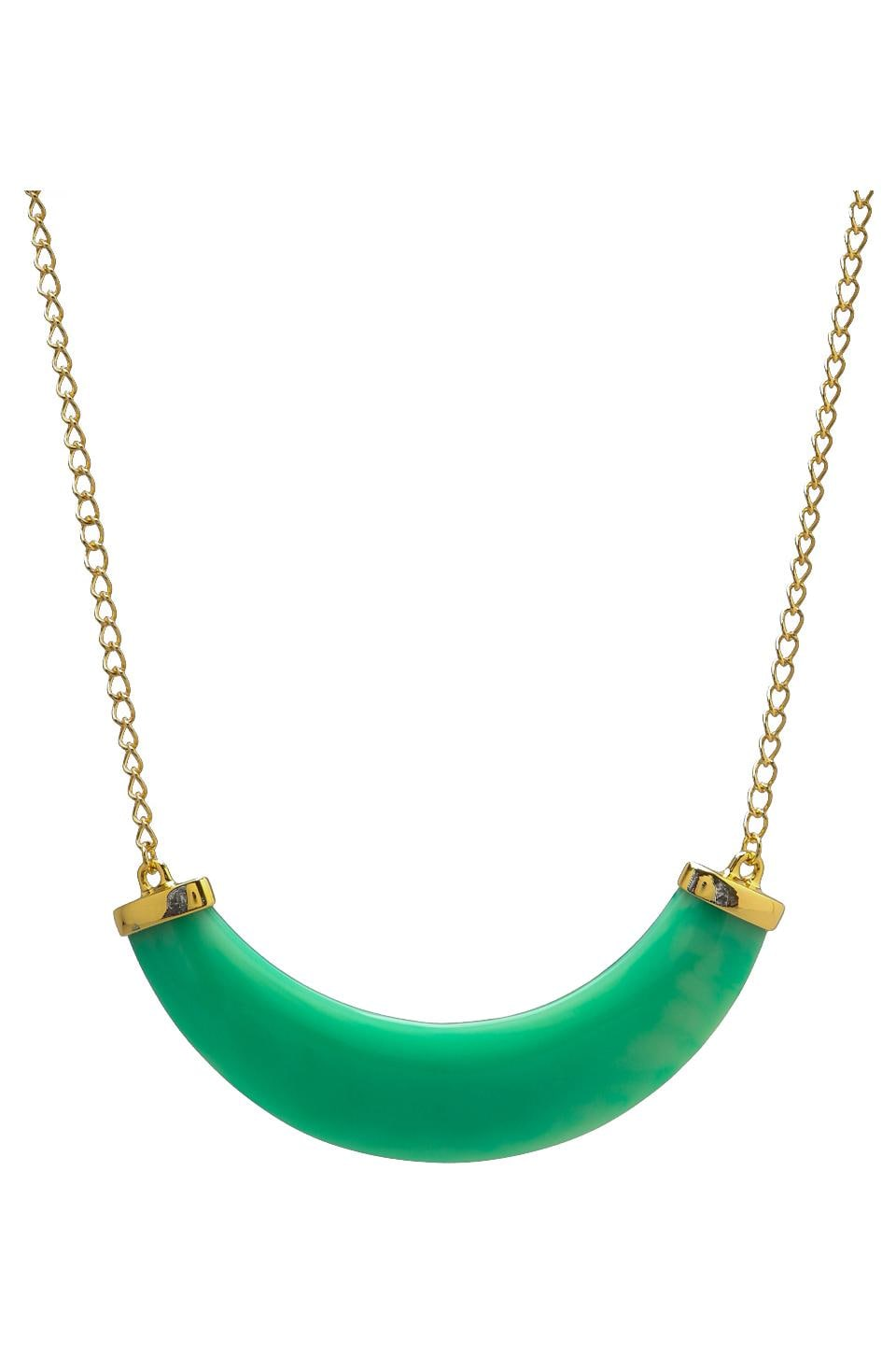 Kenneth Jay Lane Polished Gold/Jade Resin Bib Necklace Light Mint