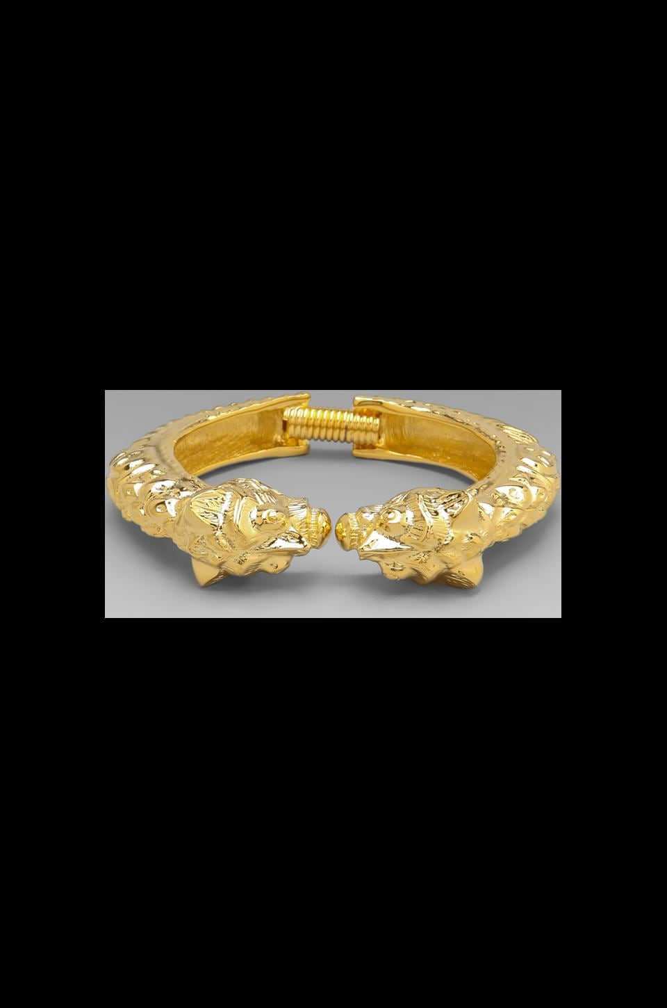 Kenneth Jay Lane 2 Lion Bracelet in Polished Gold