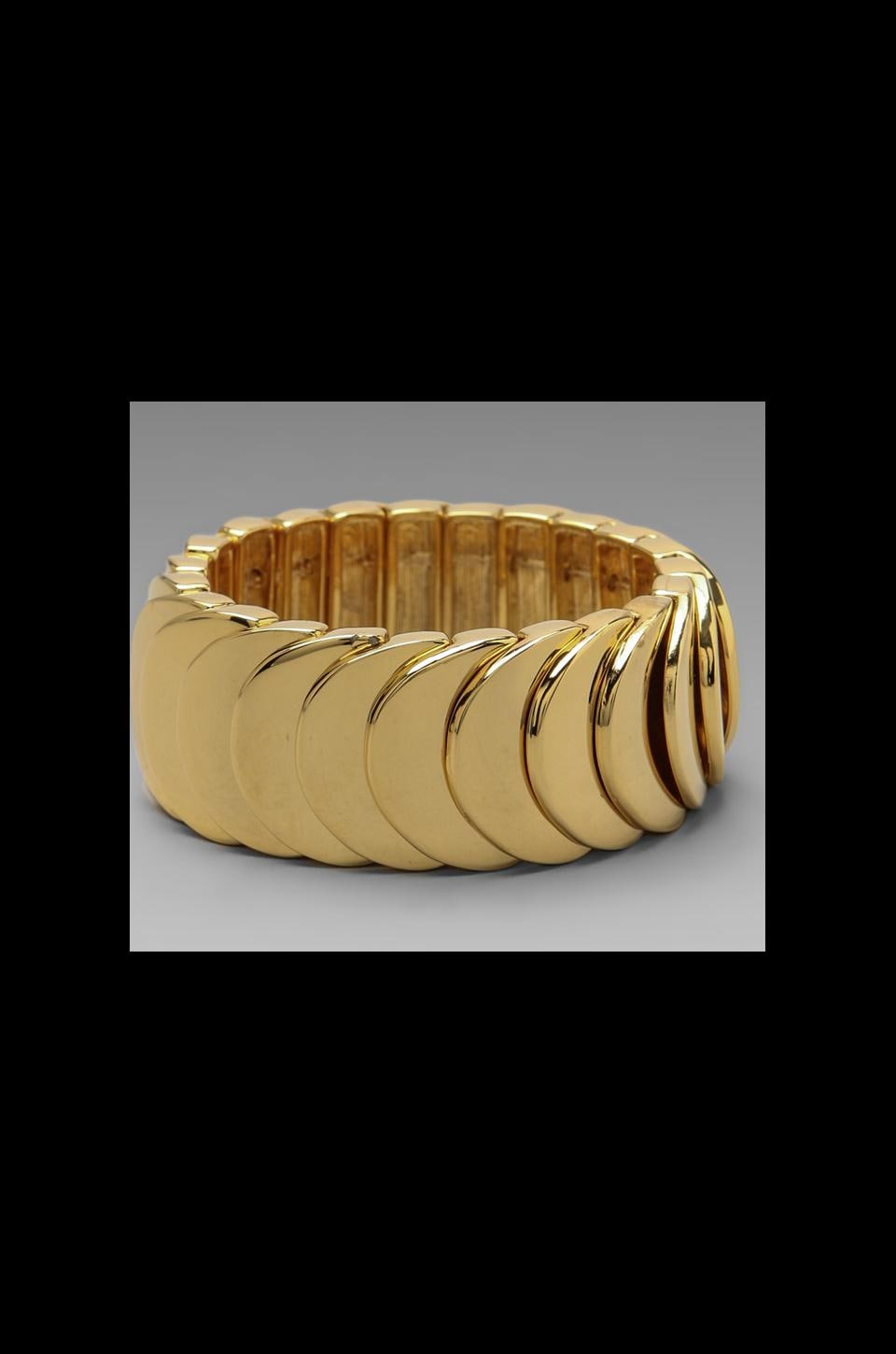 Kenneth Jay Lane Stretch Bracelet in Polished Gold