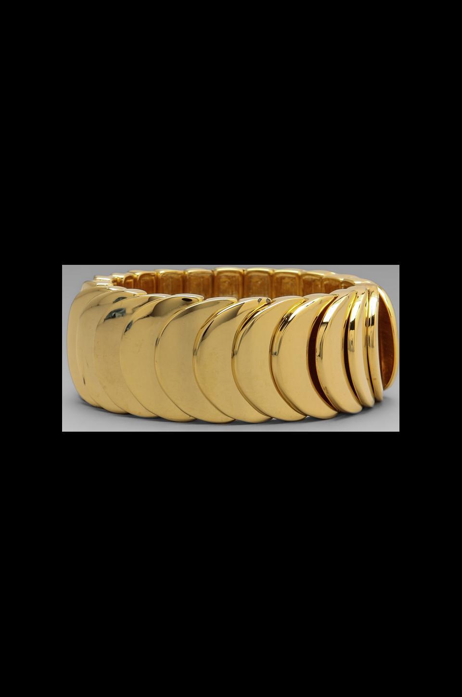 Kenneth Jay Lane Stretch Bracelet in Polished Gold