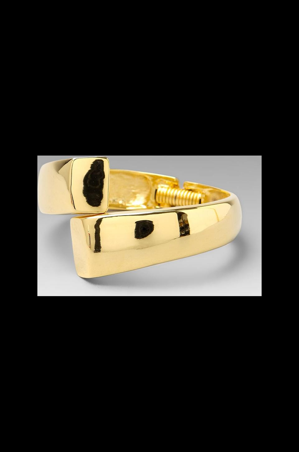 Kenneth Jay Lane Wrapped Hinged Cuff in Polished Hold