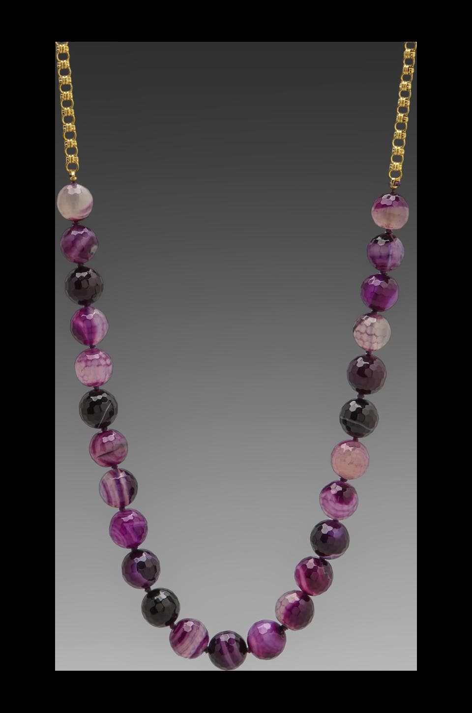 Kenneth Jay Lane 36' Gold Chain Agate Necklace in Multi Purple