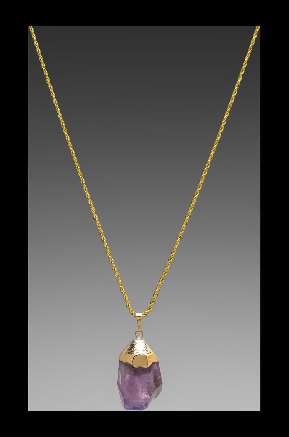 Kenneth Jay Lane Gold Chain Foil Top and Stone Necklace in Amy