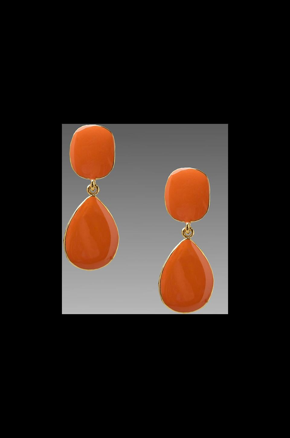 Kenneth Jay Lane Drop Stone Earrings in Coral