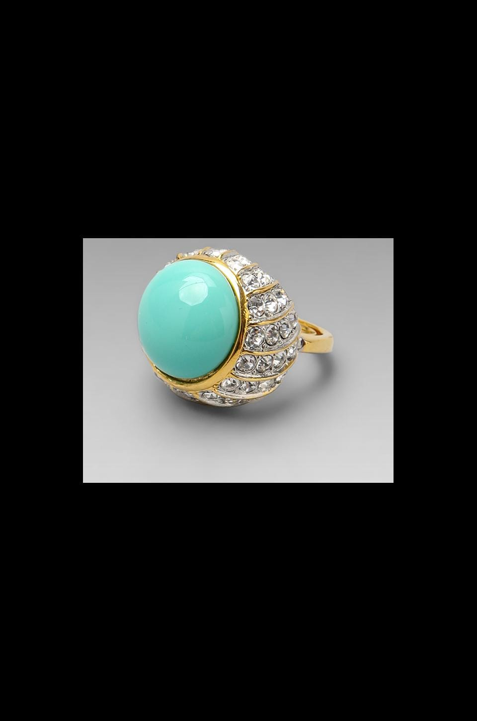 Kenneth Jay Lane Turquoise Center and Rhinestone Cluster Ring in Gold