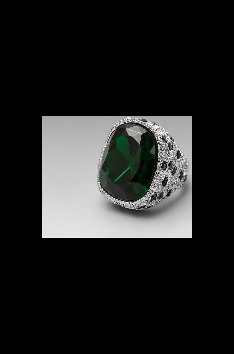 Kenneth Jay Lane Emerald Center and Jaguar Rhinestone Ring