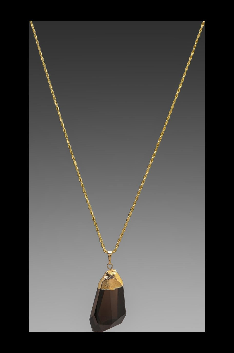 Kenneth Jay Lane Gold Chain Foil Top and Stone Necklace in Black