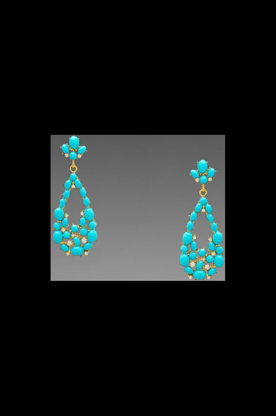 Kenneth Jay Lane Gold and Crystal Tear Drop Earring in Turquoise