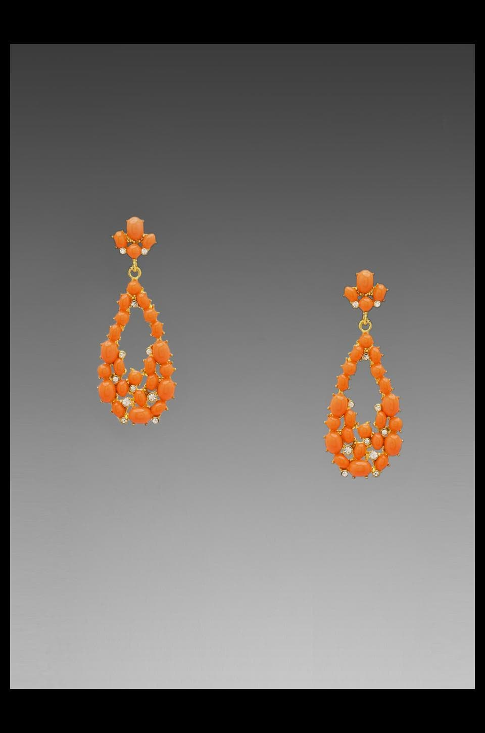 Kenneth Jay Lane Gold and Crystal Tear Drop Earring in Coral