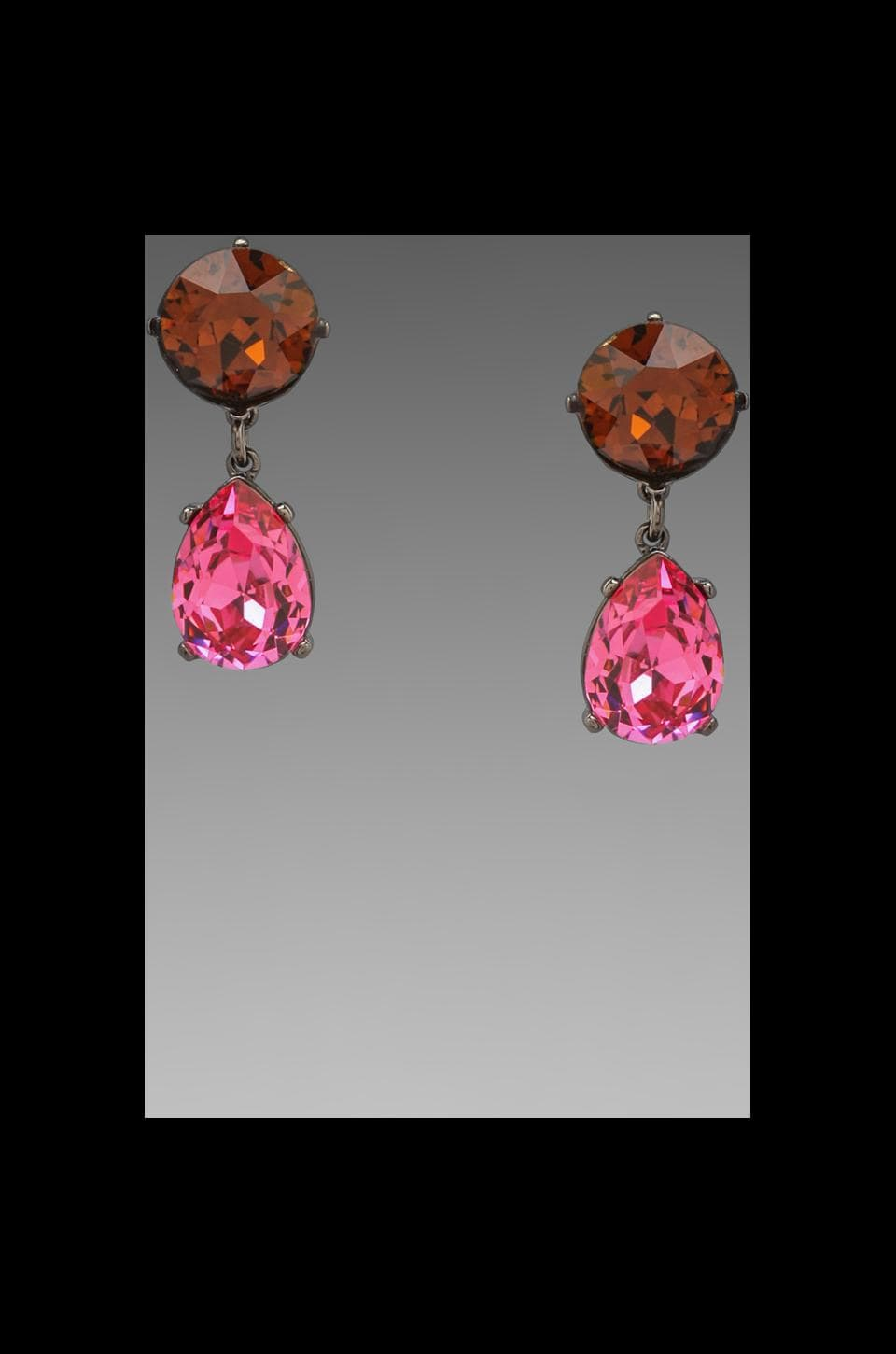 Kenneth Jay Lane Teardrop Earring in Topaz/Rose