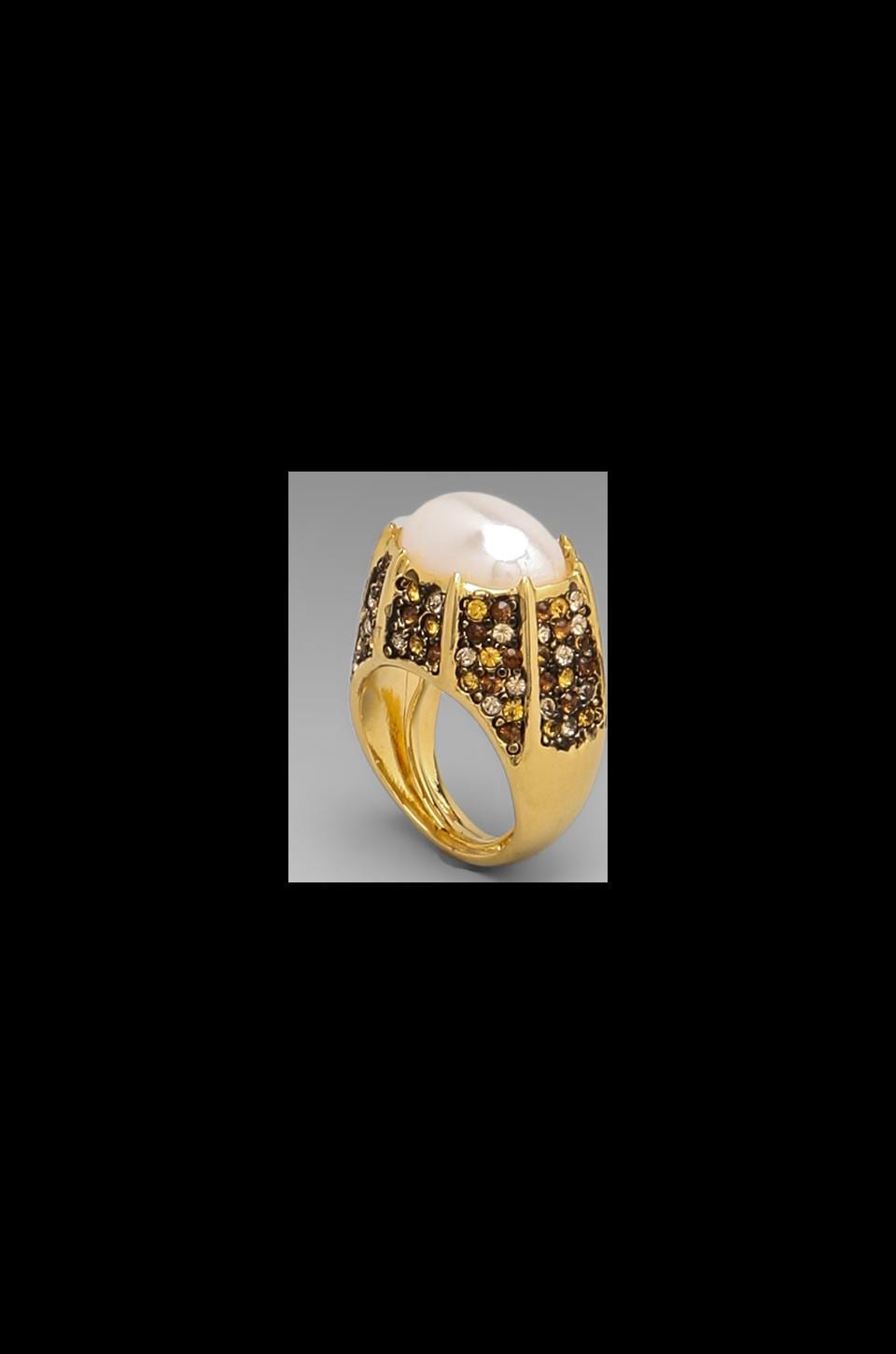 Kenneth Jay Lane Pave Combo Ring in Yellow/Topaz