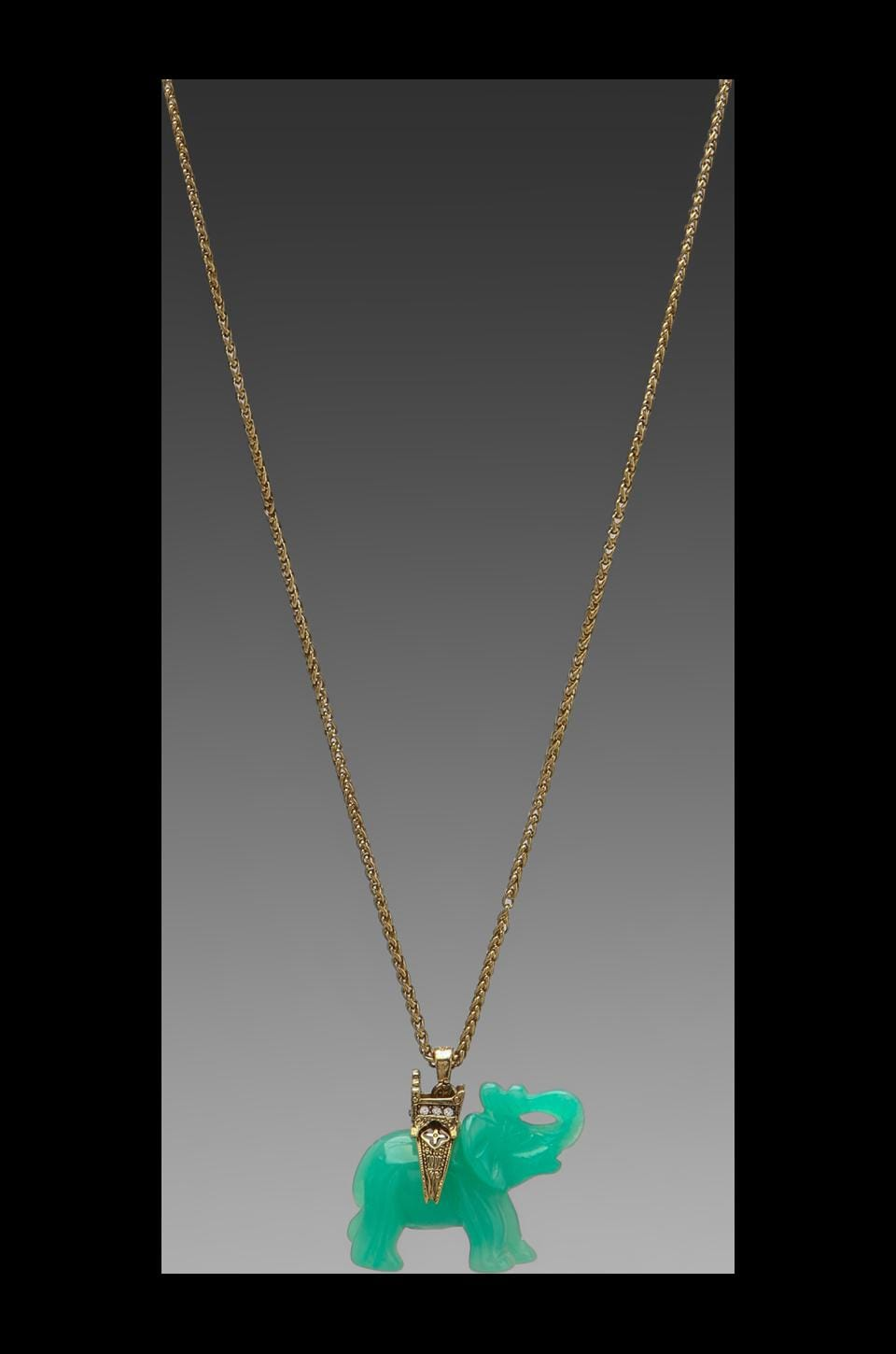 Kenneth Jay Lane Gold Chain and Elephant Necklace in Jade