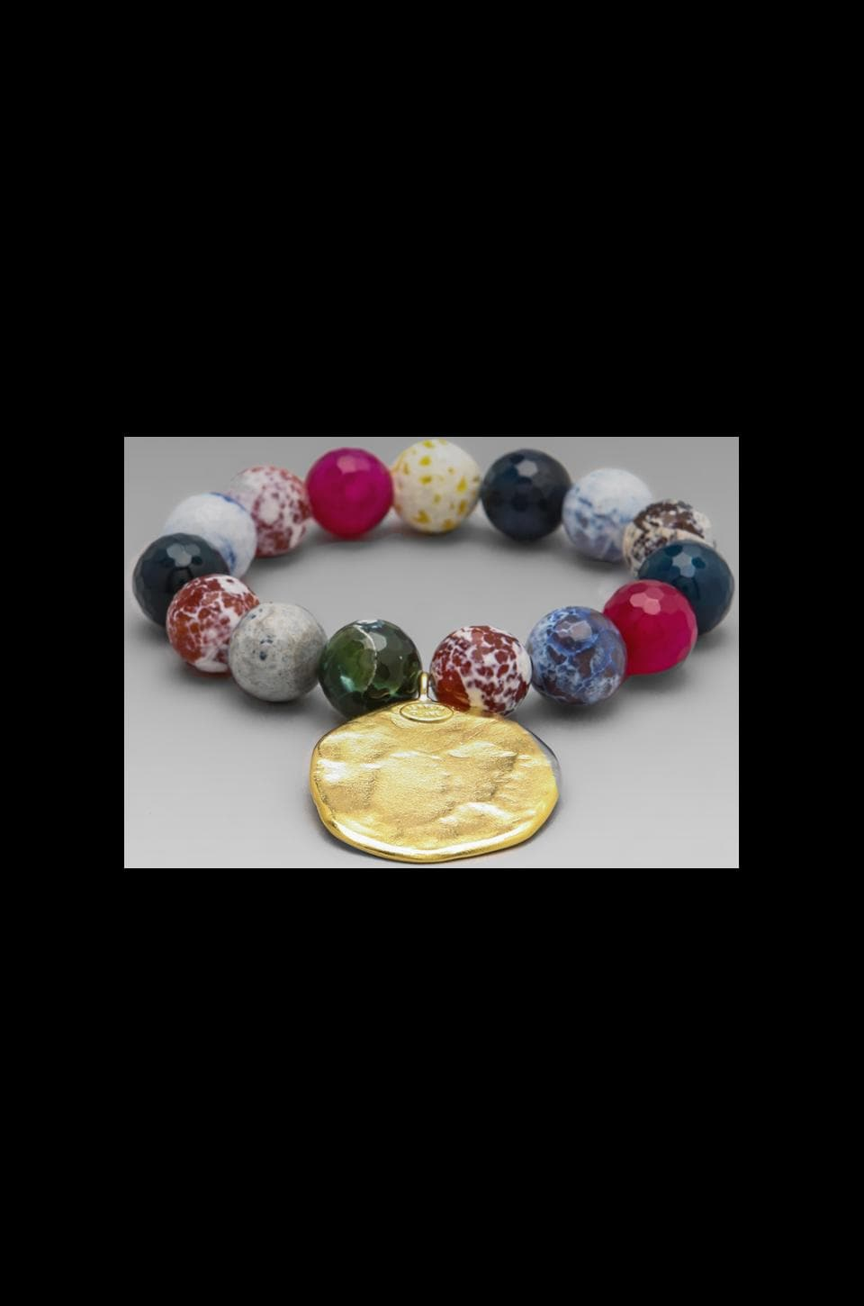 Kenneth Jay Lane Agate Bead and Satin Gold Coin Bracelet in Multi Blue