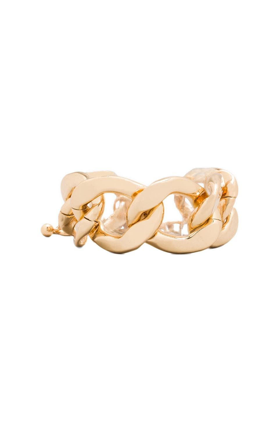Kenneth Jay Lane Large Flat Link Lobster Claw Clasp Bracelet in Polished Gold