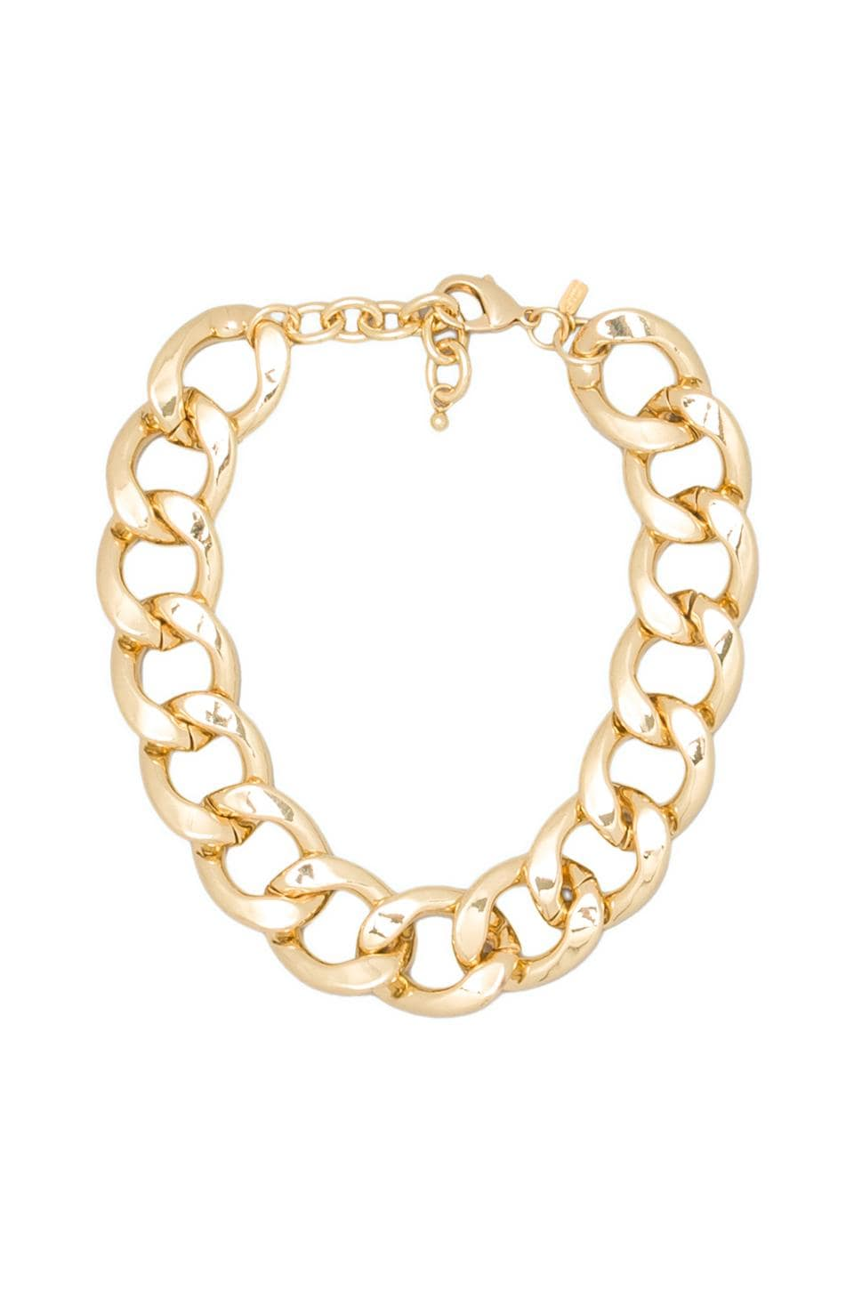 Kenneth Jay Lane Large Flat Link Lobster Claw Clasp Necklace in Polished Gold