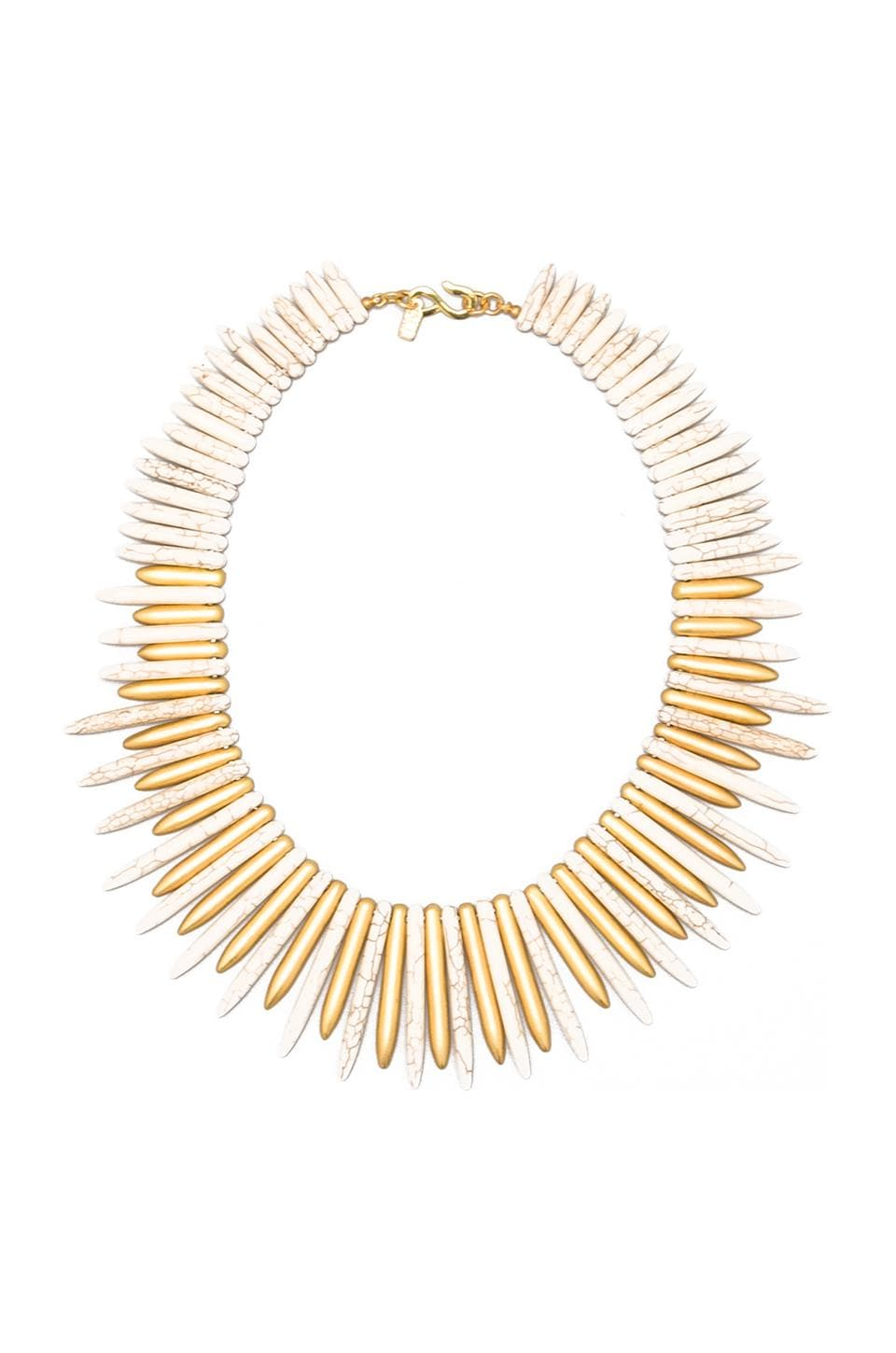 Kenneth Jay Lane Spike Necklace in Ivory/Gold