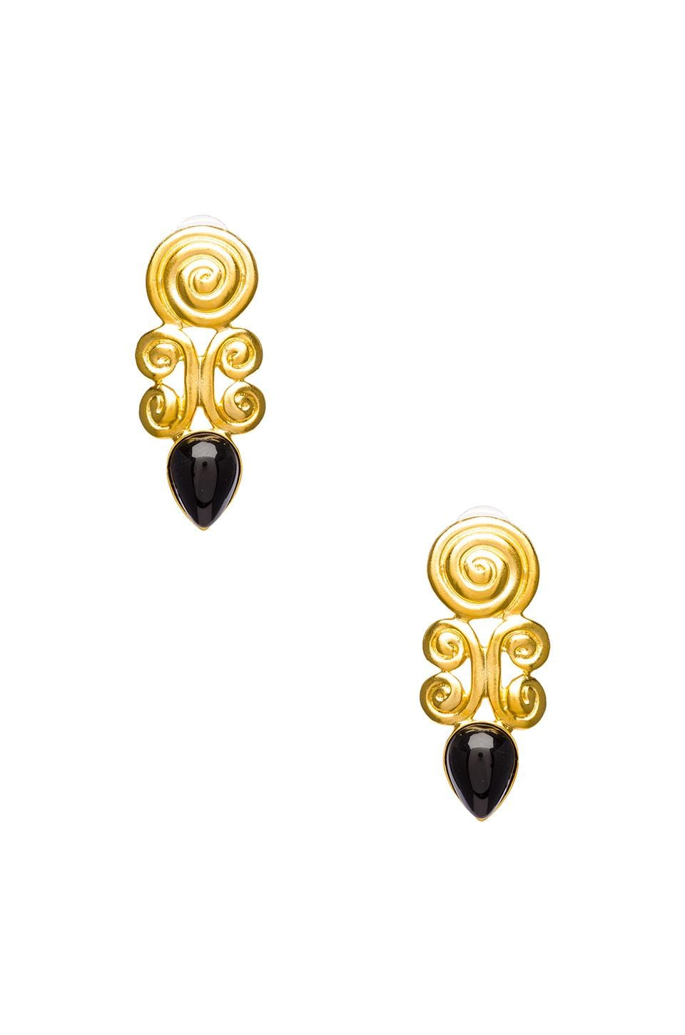 Kenneth Jay Lane Satin Gold Swirl Teardrop Pierced Earring in Gold