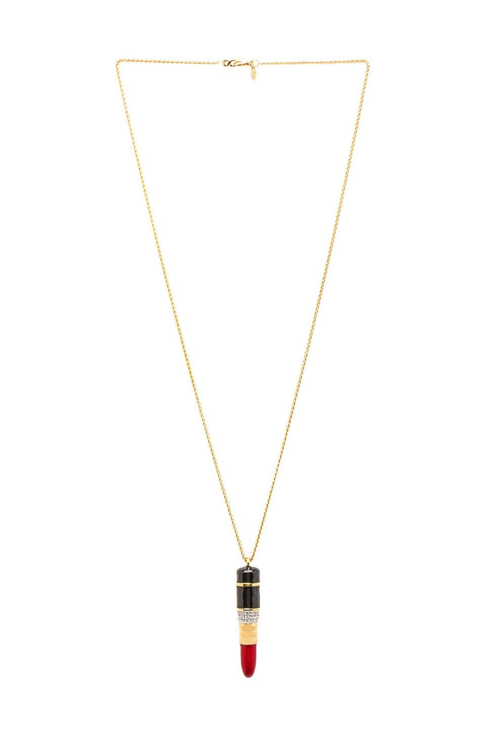 Kenneth Jay Lane Enamel Lipstick Pendant in Gold